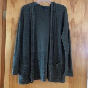 American Eagle Hooded Cardigan Sweater Green